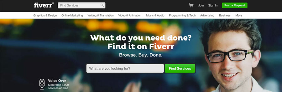 Fiverr Home Page Screenshot